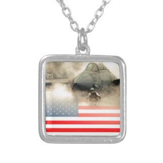 USA (amerikan) flagga mot kämpejetflygplan Silverpläterat Halsband