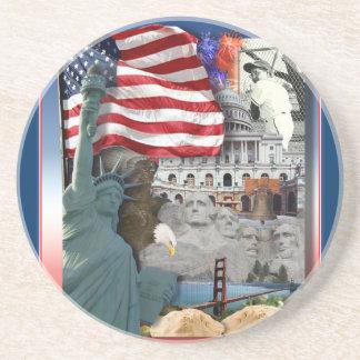 USA amerikansymboler Glasunderlägg I Sandsten
