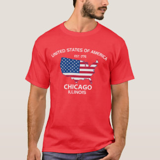 USA EST. CHICAGO ILLINOIS utslagsplats 1776 Tshirts