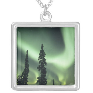USA Fairbanks område, central Alaska, aurora 2 Silverpläterat Halsband