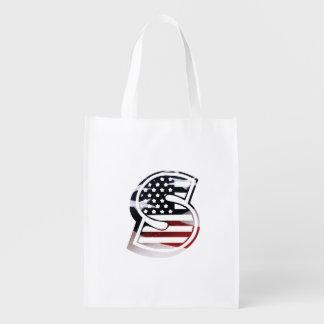 USA flagga för Monogram för brev S initial Återanvändbar Påse