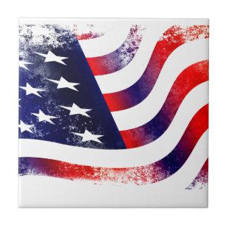 USA FLAGGA LITEN KAKELPLATTA