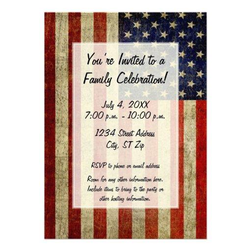 USA flagga med ett vintagelookparty Anpassningsbara Inbjudningskort