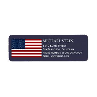 USA flagga, namn & Returadress Etikett