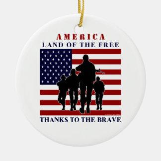 USA flagga- och soldatSilhouetteprydnad Julgransprydnad Keramik