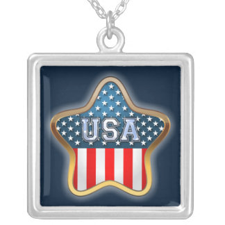 USA flagga Silverpläterat Halsband