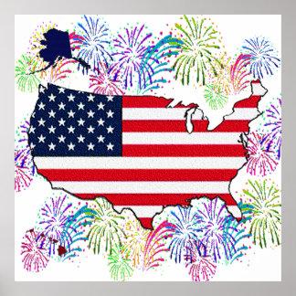 USA flaggakarta och fyrverkerier med struktur Poster
