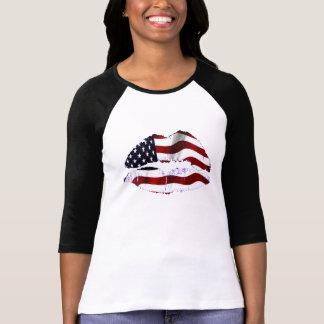 USA flaggaläppar Tee Shirt