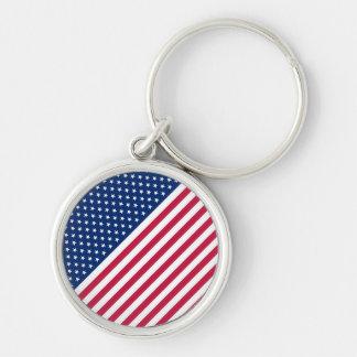 USA flaggaUS-amerikan 4th av den Juli independence Rund Silverfärgad Nyckelring