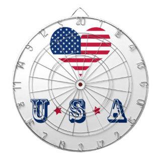 USA för Amerika flaggaamerikan hjärta Darttavla