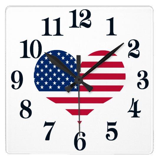 USA för Amerika flaggaamerikan hjärta Fyrkantig Klocka