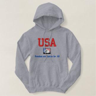 USA frihet och rättvisa för all svettskjorta Broderad Luvtröja