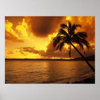 USA Hawaii, Kauai, färgrik soluppgång i a Poster