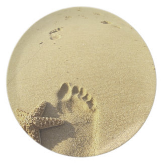 USA Hawaii, Maui, Makena strand, fotspår och Tallrikar