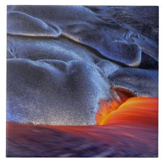 USA Hawaii, stor ö, Kilauea, vulkaner NP, Kakelplatta