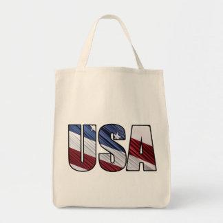 USA i röd patriotisk flagga för vit- och Mat Tygkasse