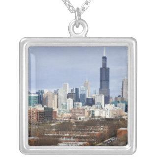 USA Illinois, Chicago horisont 2 Silverpläterat Halsband