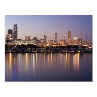 USA Illinois, Chicago horisont på skymningen Vykort