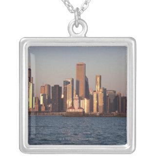 USA Illinois, Chicago, stadshorisont över sjö 2 Halsband Med Fyrkantigt Hängsmycke