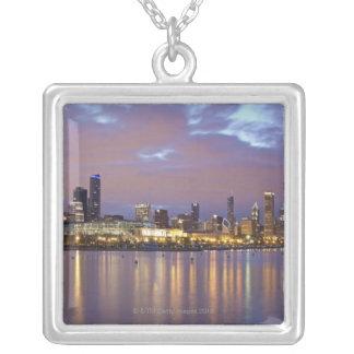 USA Illinois, Chicago, stadshorisont över sjö 5 Silverpläterat Halsband