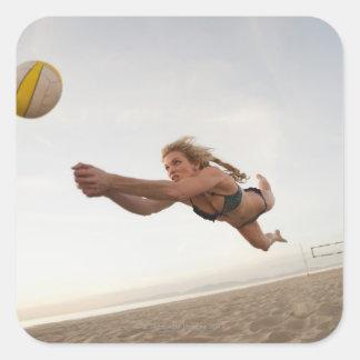 USA Kalifornien, Los Angeles, leka för kvinna Fyrkantigt Klistermärke