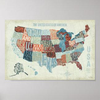 USA karta med stater i ord Poster