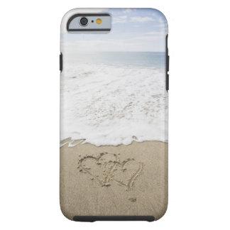 USA Massachusetts, hjärtor som dras på sandig Tough iPhone 6 Skal