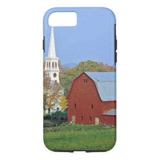 USA Vermont, Peacham. En röd ladugård och vit