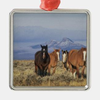 USA Wyoming, nära den Cody gruppen av hästar, Julgransprydnad Metall