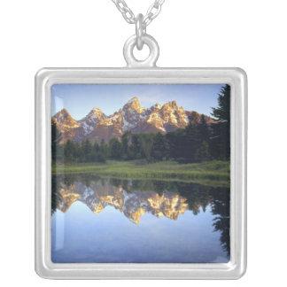 USA Wyoming, storslagen Teton nationalpark. Tusen Silverpläterat Halsband