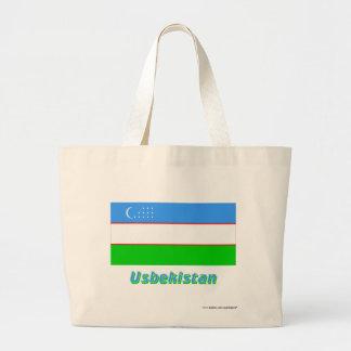 Usbekistan Flagge mit Namen Tote Bags