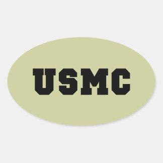 USMC [djärv text] Ovalt Klistermärke