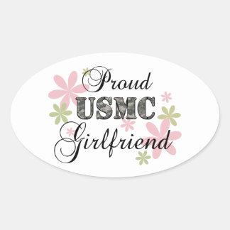 Usmc-flickvän [fl-camo] ovalt klistermärke