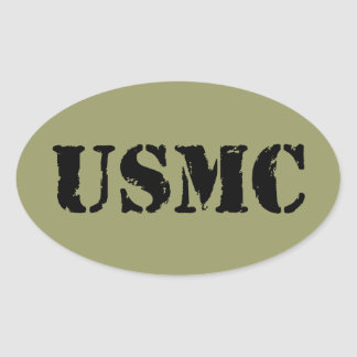 USMC [stencilera text], Ovalt Klistermärke
