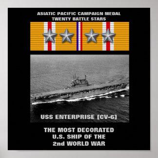 USS ENTERPRISE (CV-6) AFFISCH