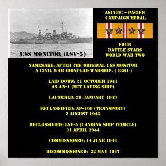 USS MONITOR (LSV-5) AFFISCH