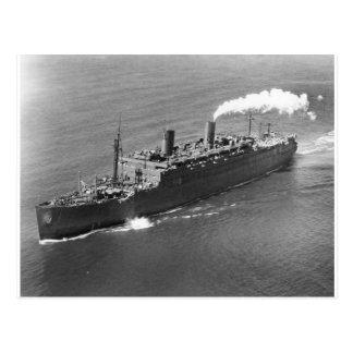 USS Mount Vernon som kommer med de utländska Vykort