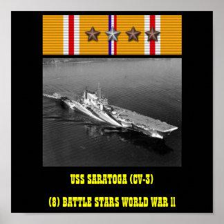 USS SARATOGA CV-3 AFFISCH