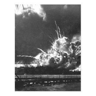 USS SHAW som exploderar under Japanese_Waren, Vykort