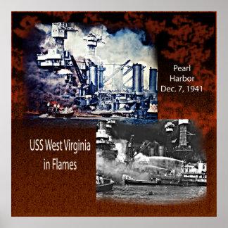 USS västra Virgina, pärlemorfärg affisch för hamn