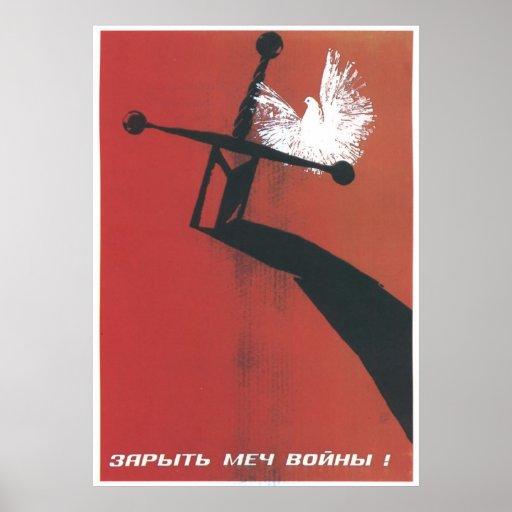 USSR CCCP kalla krigetsovjet - facklig propaganda  Affisch