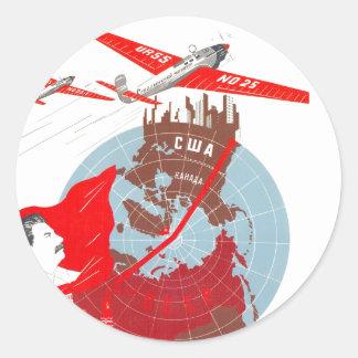 USSR CCCP kalla krigetsovjet - facklig propaganda Runt Klistermärke