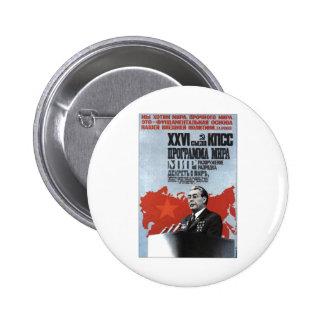 USSR CCCP kalla krigetsovjet - facklig propaganda Standard Knapp Rund 5.7 Cm