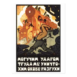 USSR CCCP kalla krigetsovjet - facklig propaganda Vykort