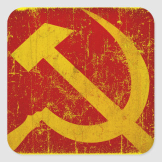 USSR Ryssland bultar & skäraGrungeklistermärkear Fyrkantigt Klistermärke