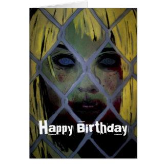 """""""Ut ikväll"""" kommer födelsedagkortet (för zombien) Hälsningskort"""
