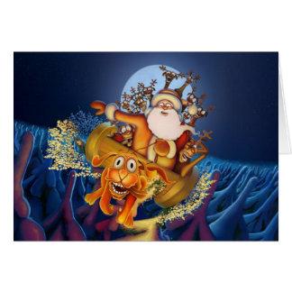 Ut ur kontrollera den Santa sleighen med den galna Hälsningskort