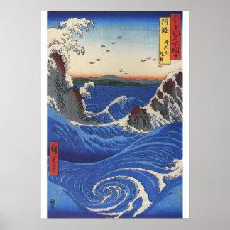 Utagawa Hiroshige, vildhav som bryter på stenarna Poster