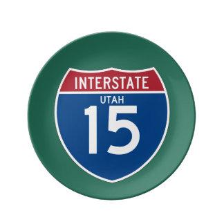 Utah UT I-15 skyddar den Interstate huvudvägen - Porslinstallrik