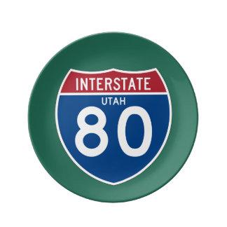 Utah UT I-80 skyddar den Interstate huvudvägen - Porslinstallrik